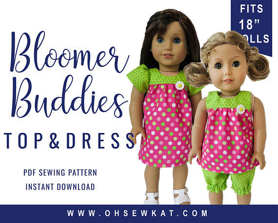18 inch Doll Clothes Sewing Pattern Bloomer Buddies Yoke Top and ...