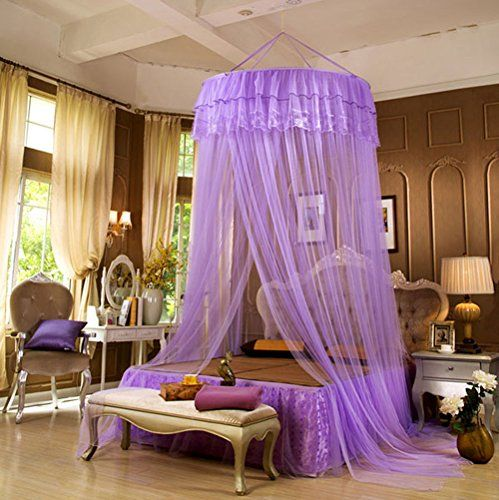 Cdybox Round Lace Curtain Hanging Ceiling Princess Mosquito Net Dome