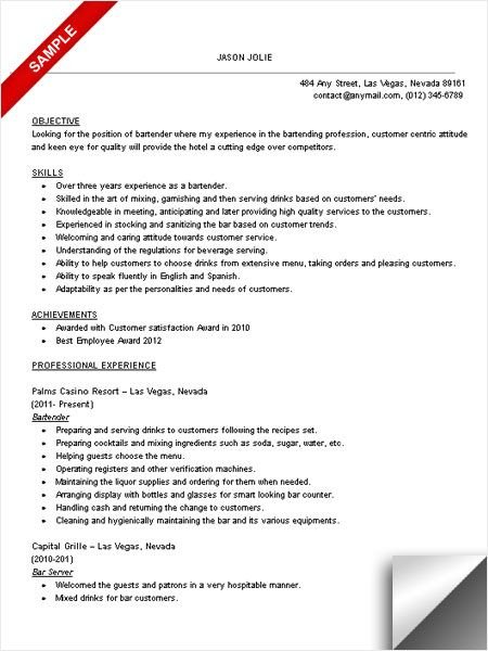 ... Bartender Resume Sample, Objective \ Skills Resume samples - bartender  resume example ...