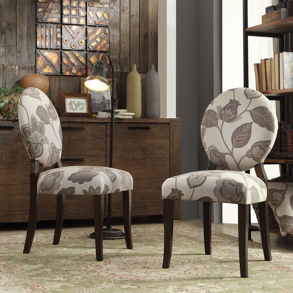 INSPIRE Q Paulina Grey Floral Round Back Dining Chair (Set of 2) - Overstock