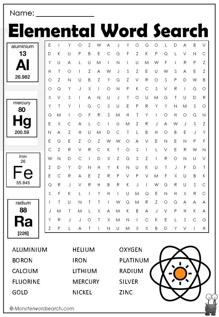 Awesome Elemental Word Search Word Search Periodic Table Words