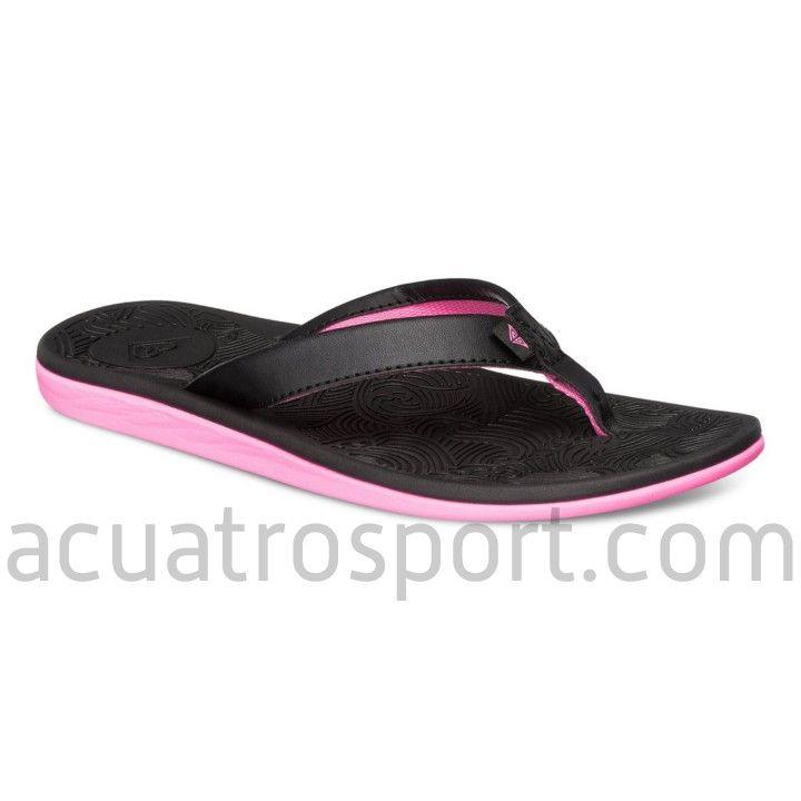 ff0927799 Chancletas Roxy modelo Hail en colores negro y rosa para mujer. Tira de  goma suave