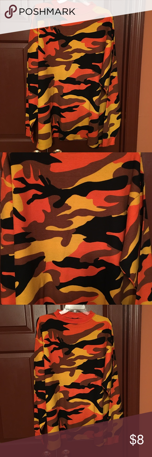 Men's Camo Thermal Shirt Men's long sleeve Camo thermal size XL in good condition worn twice, great colors (yellow/orange/brown/and black) Shirts Tees - Long Sleeve