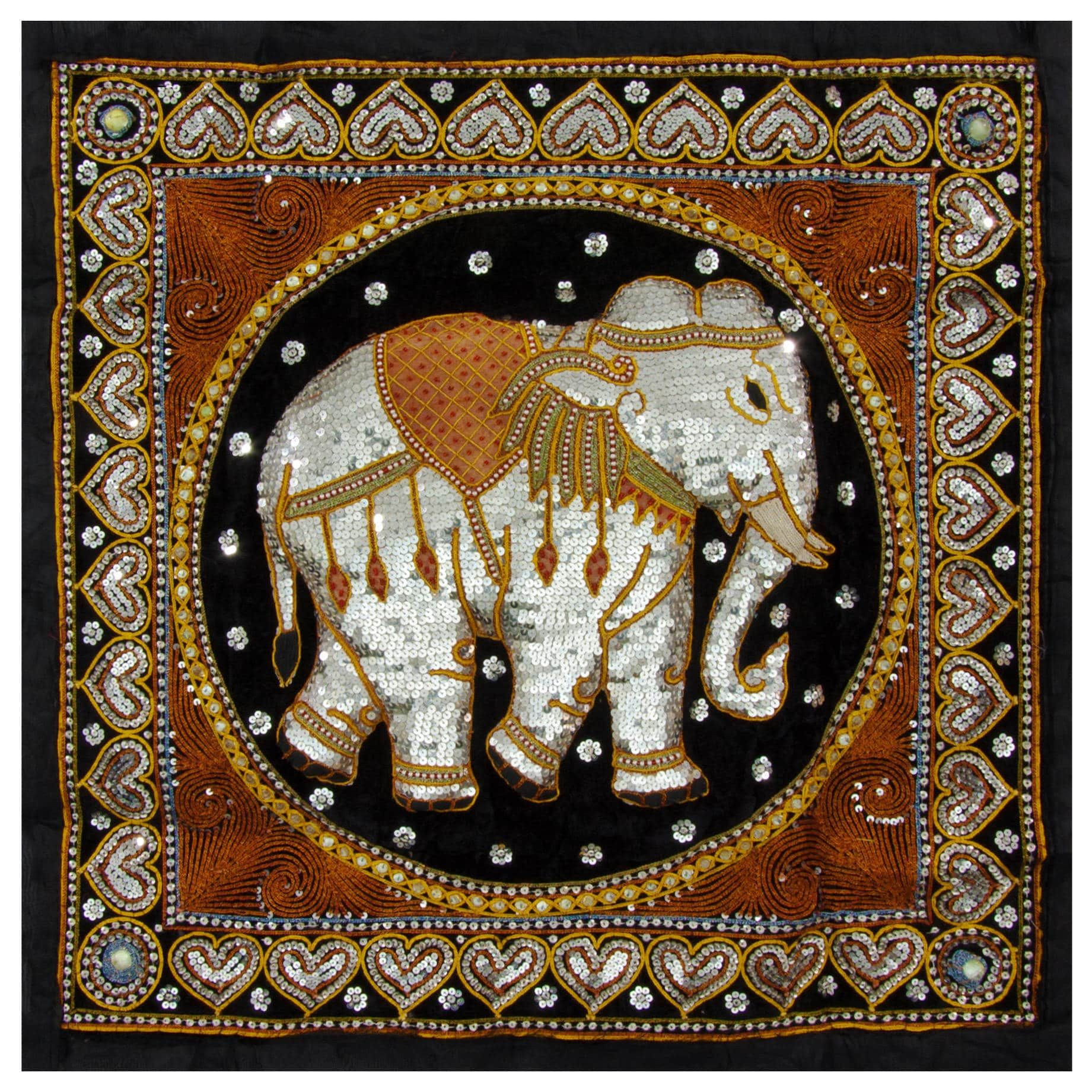 Hand Embroidered Burmese Elephant Tapestry Wall Hanging