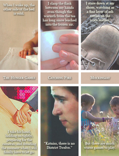 Opening and closing lines of each book in the Hunger Games trilogy.