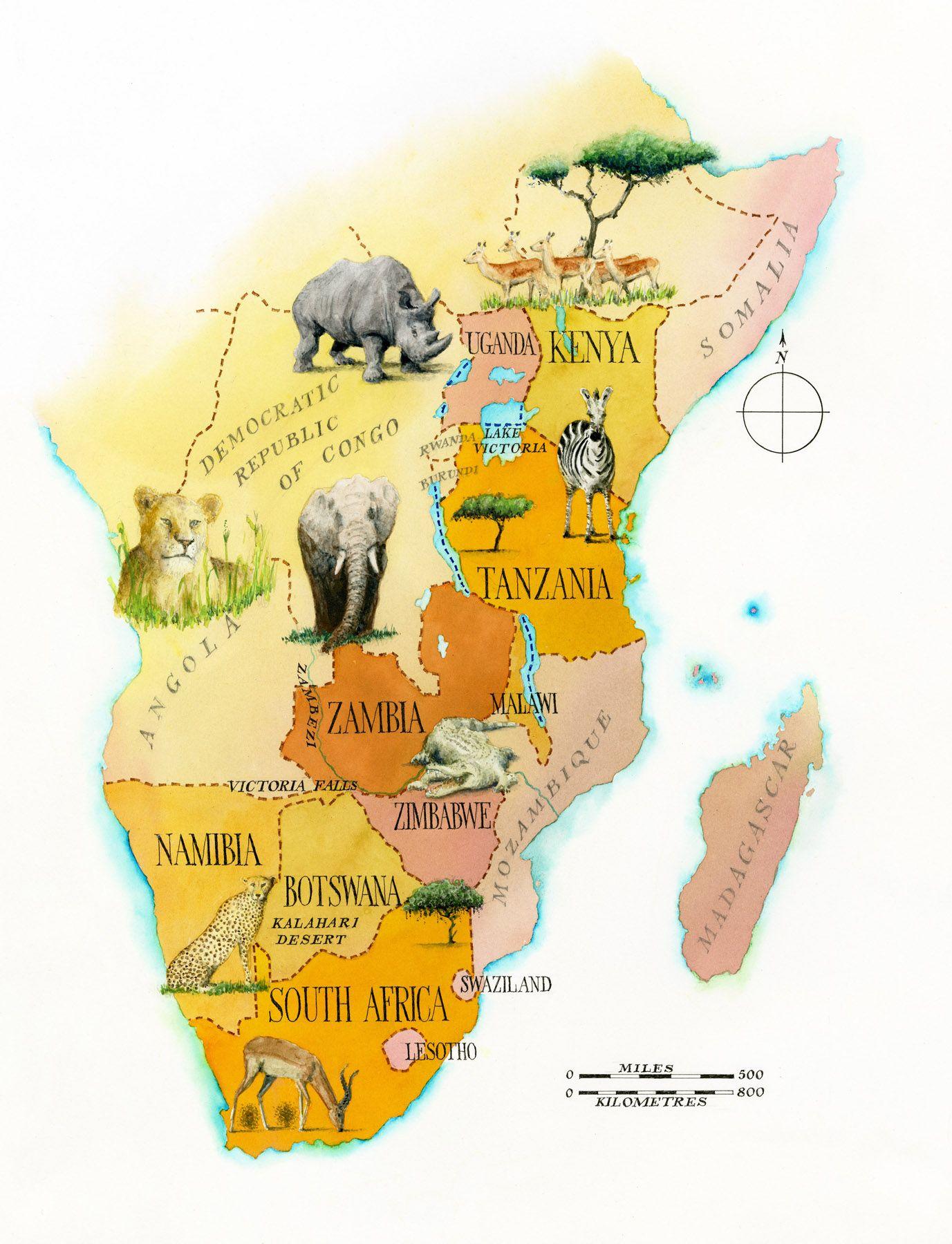 Africa Safari Map Landkarte Karten Afrika