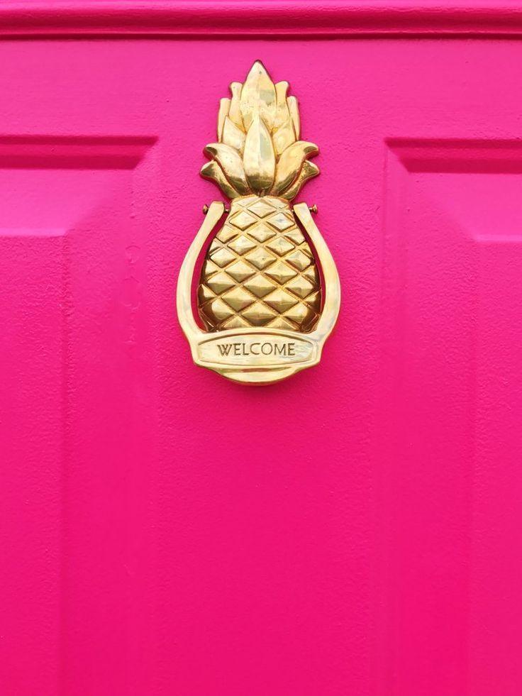 Hot pink door with pineapple door knocker the vintage pineapple door knocker was made my avon - Pineapple door knocker ...