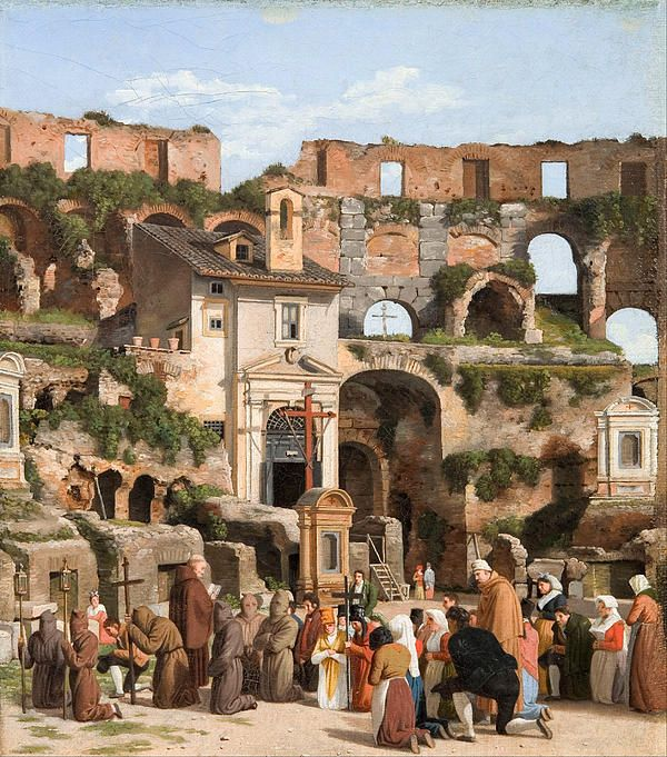 View Of The Interior Of The Colosseum by Christoffer Wilhelm Eckersberg (Danish, 1783-1853)