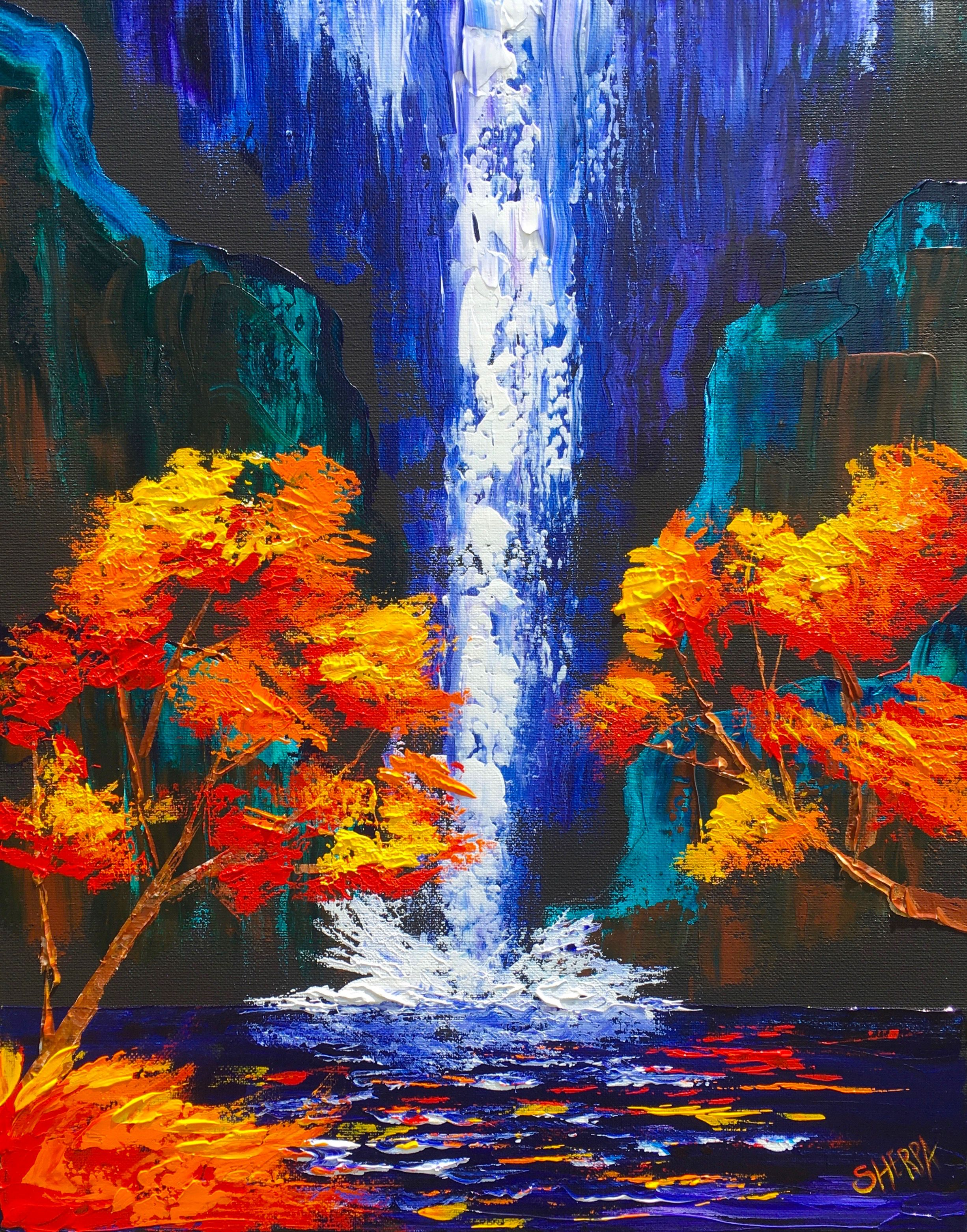 Easy pallet knife of a waterfall landscape with fall trees for Fall paintings easy