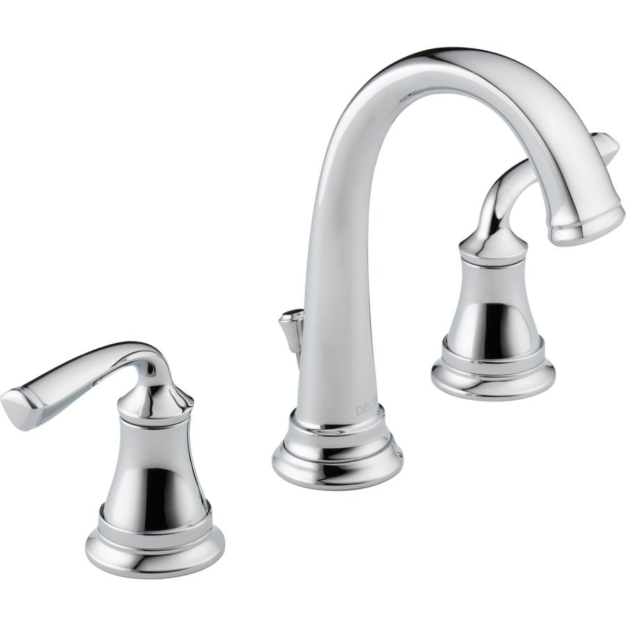 Shop Delta Lorain Chrome 2 Handle Widespread Watersense Bathroom Faucet Drain Included At Lowes Com Bathroom Faucets Faucet Delta Faucets