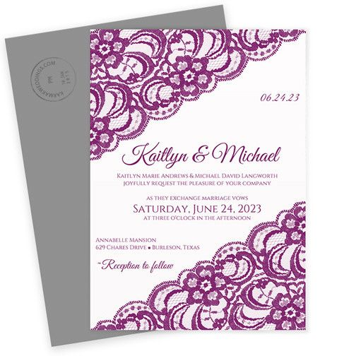 Lace Wedding Invitation Template 5 x 7 Vintage Lace Flat