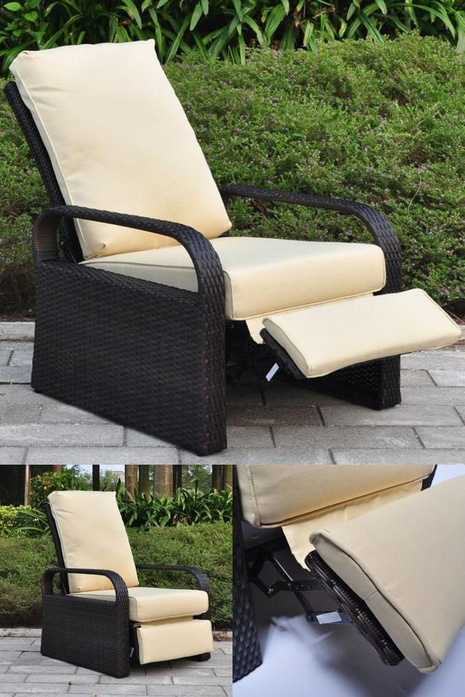 Attrayant Recliner Lounge Single Sofa Garden Outdoor Patio Chair Furniture Beige  Cushion | Outdoor Sofa Sets/Garden Table U0026 Chairs/ Patio Dining Sets |  Pinterest ...