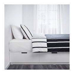 Ikea Nordli White Bed Frame With Storage Furniture Bed