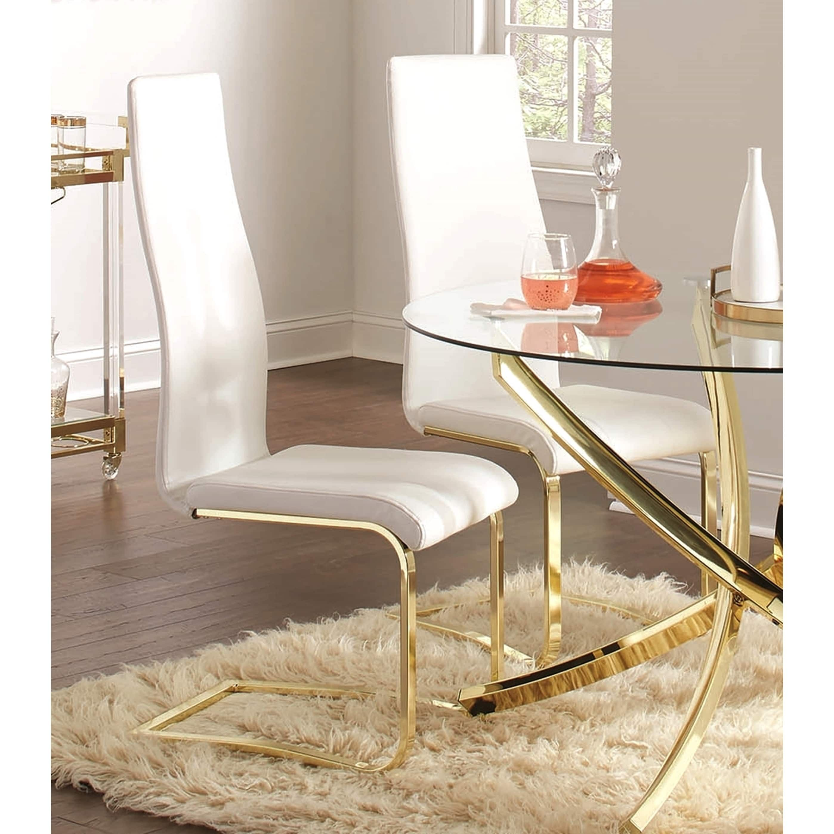 Modern White Upholstery and Gold Tone Metal Dining Chairs