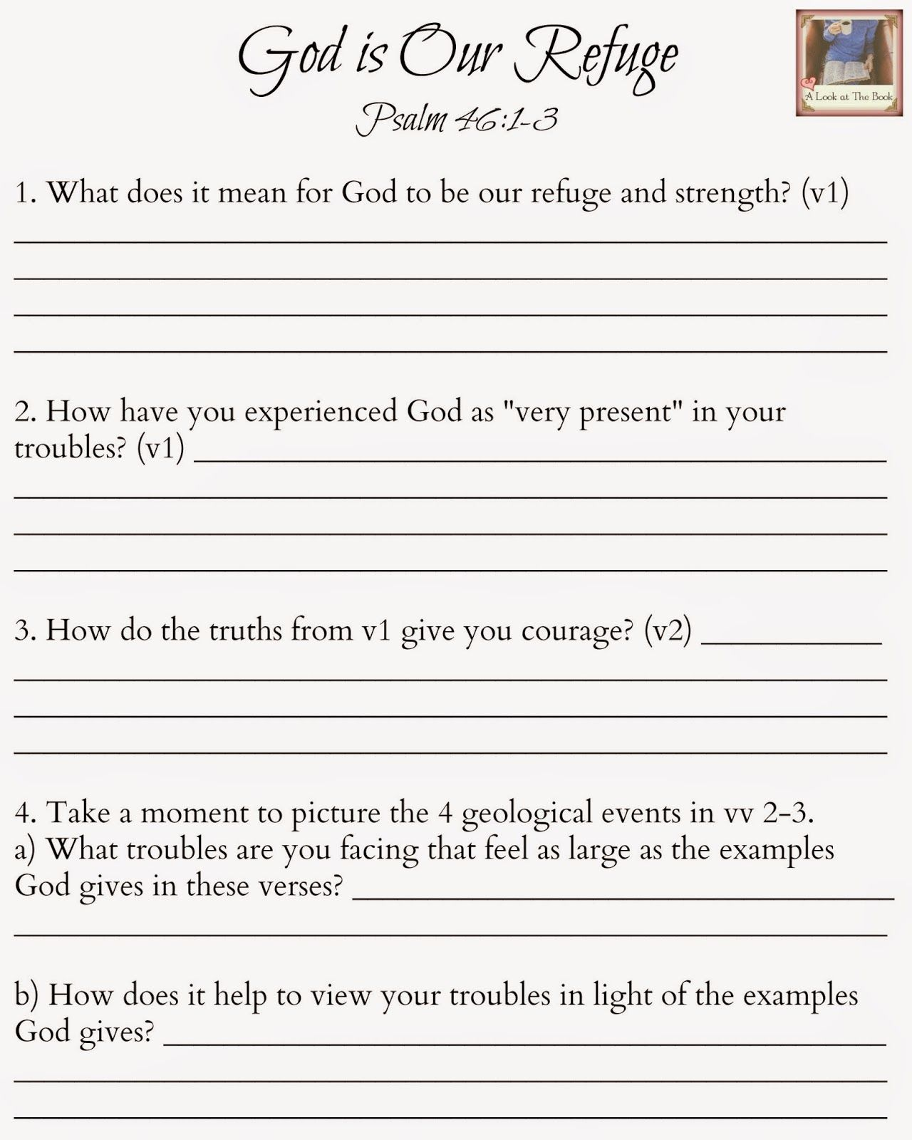 God Is Oue Refuge Study Aid For Psalm 46 1 3
