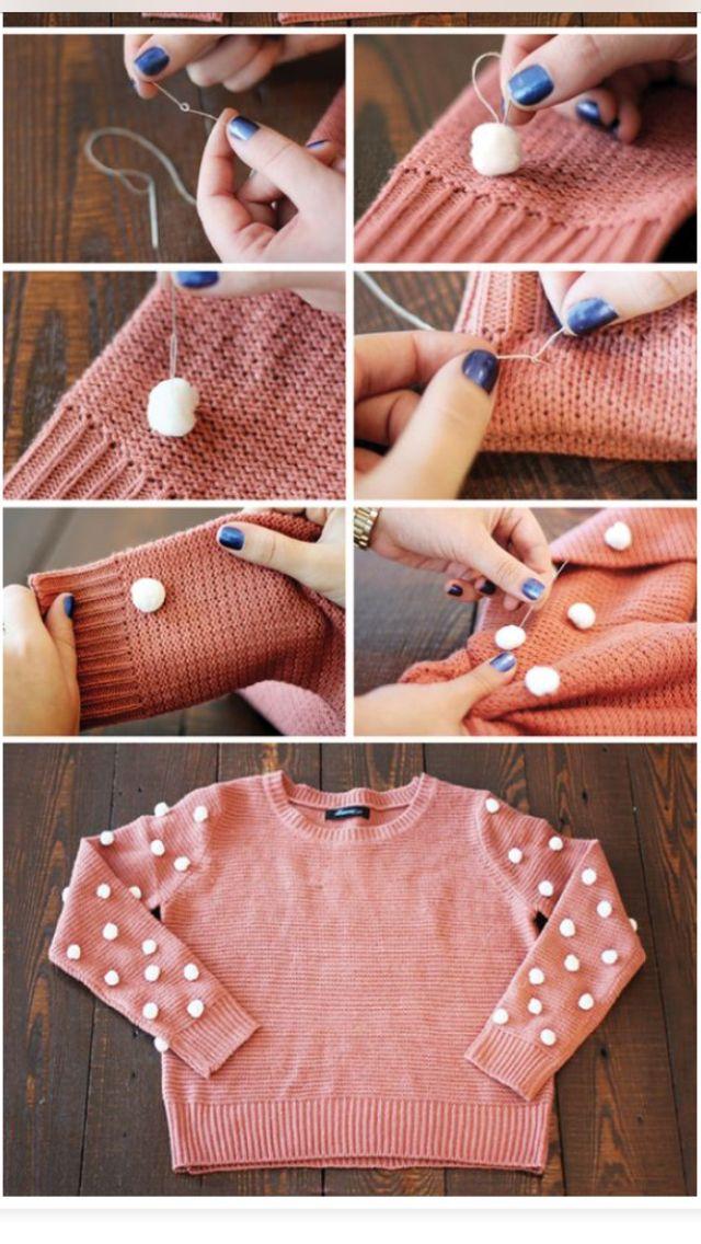 Pom pom sweter