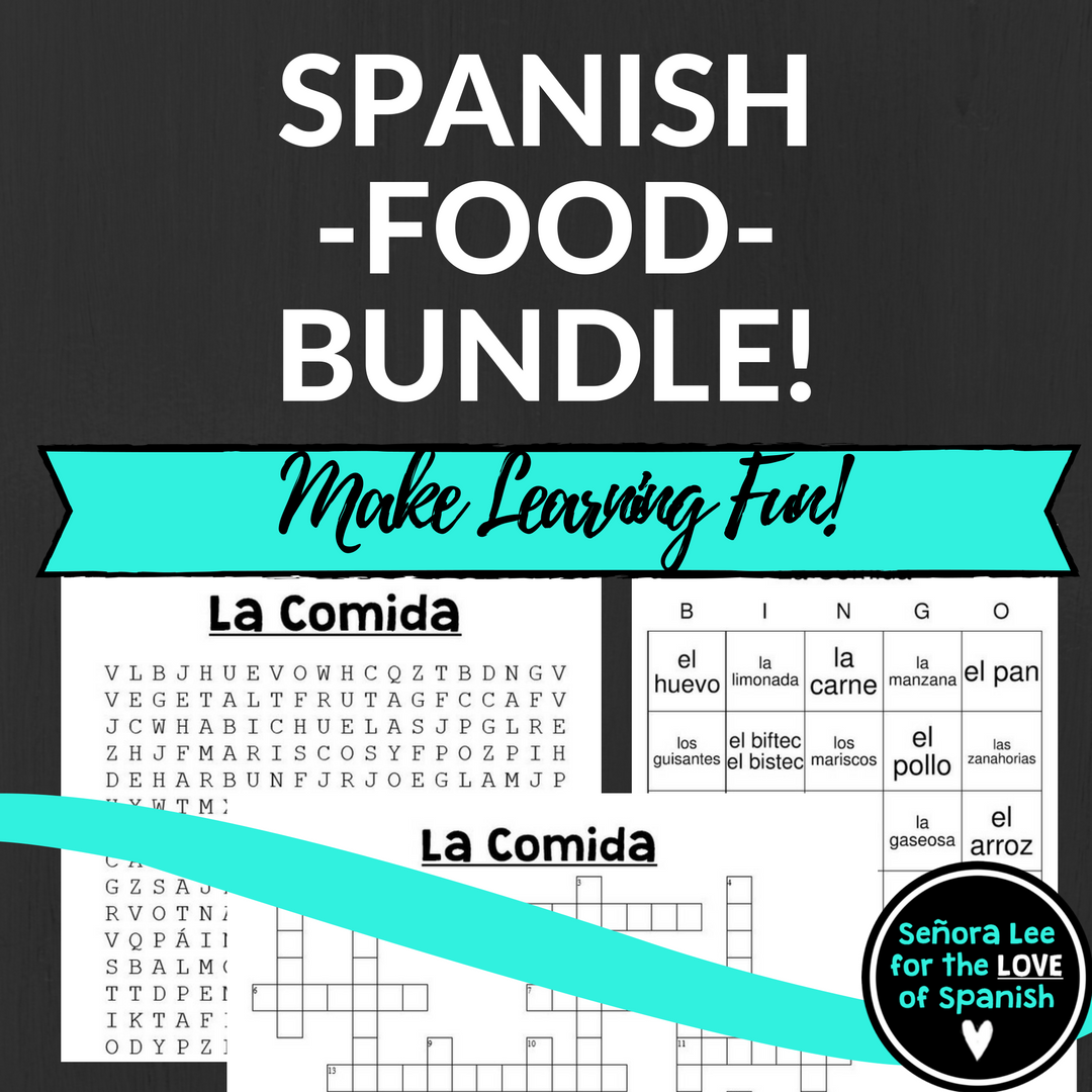 Spanish Bundle Spanish Food Crossword Word Search Bingo Speaking