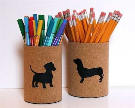 Spray Paint used cans and add cork with an animal cutout - the paint shows through and makes a fun pencil container. --> #DIY #SprayPaint #Crafty