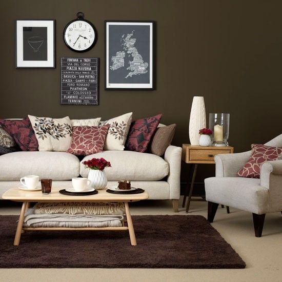 Wohnideen Wohnzimmer Beige Braun Klassisch Retro
