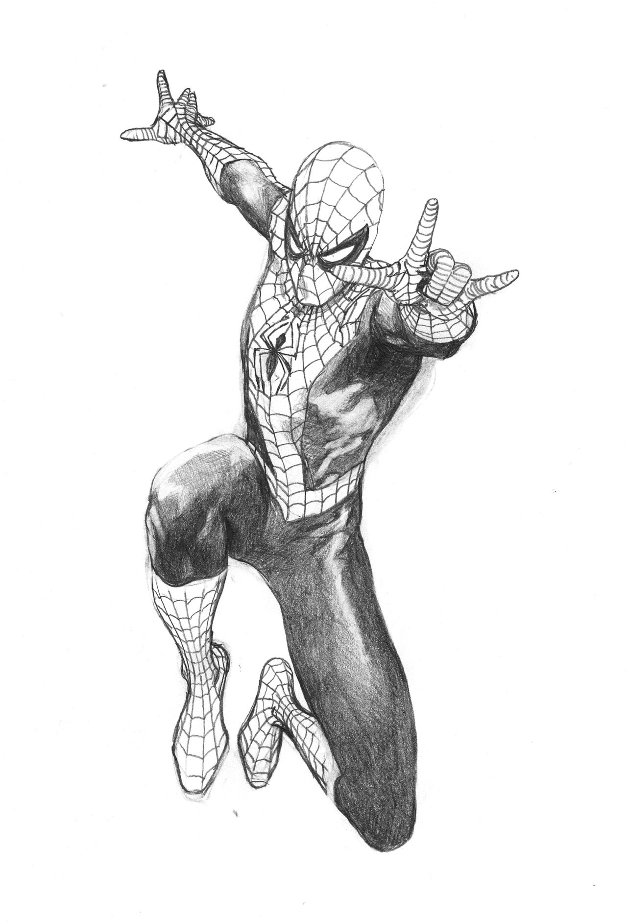 Part of an amazing spider man 50th anniversary variant cover rough by steve mcniven