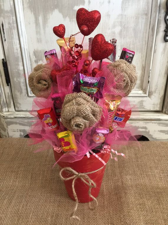 Burlap Flower Candy Bouquet / Candy Bouquet / Candy Pot / Chocolate ...
