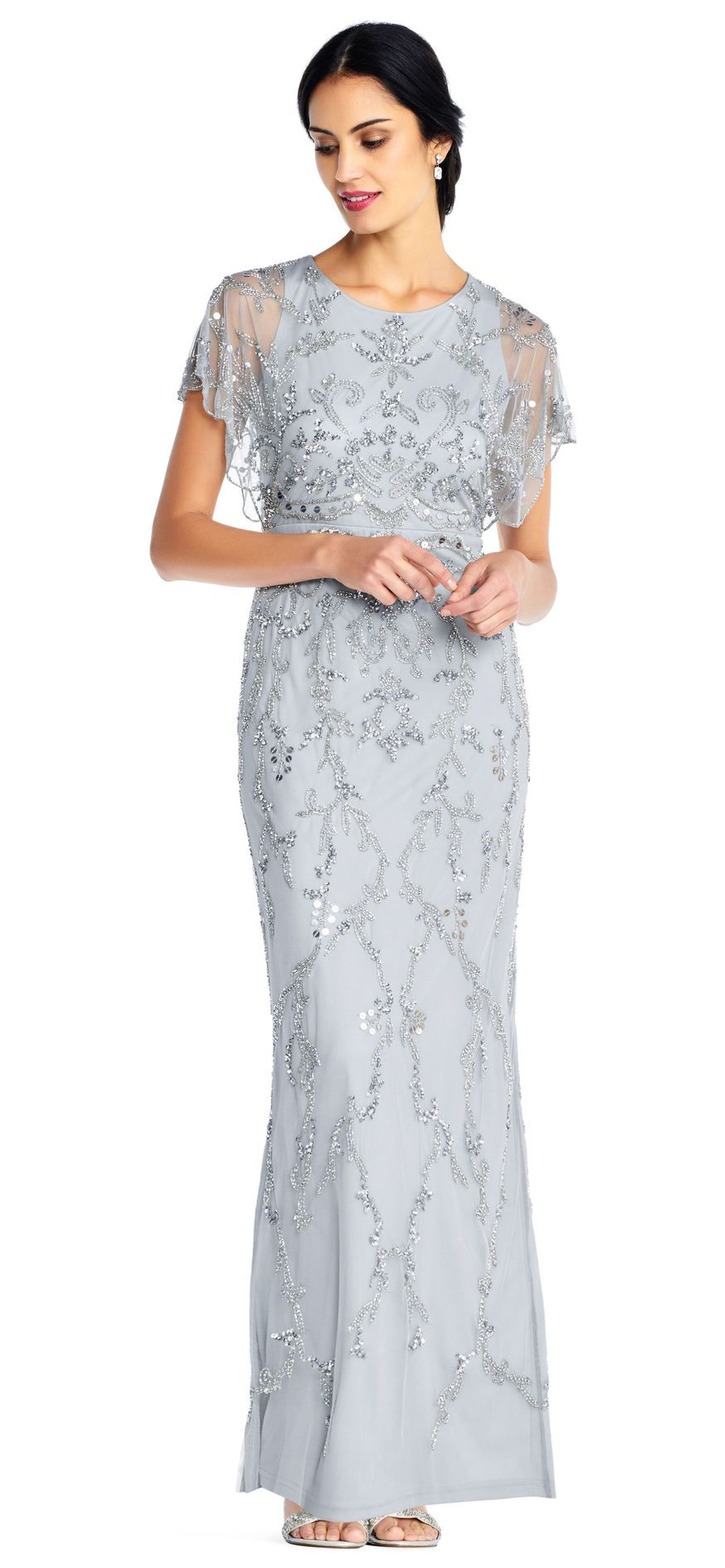 76bda00f88 Floral Beaded Gown with Scalloped Flutter Sleeves
