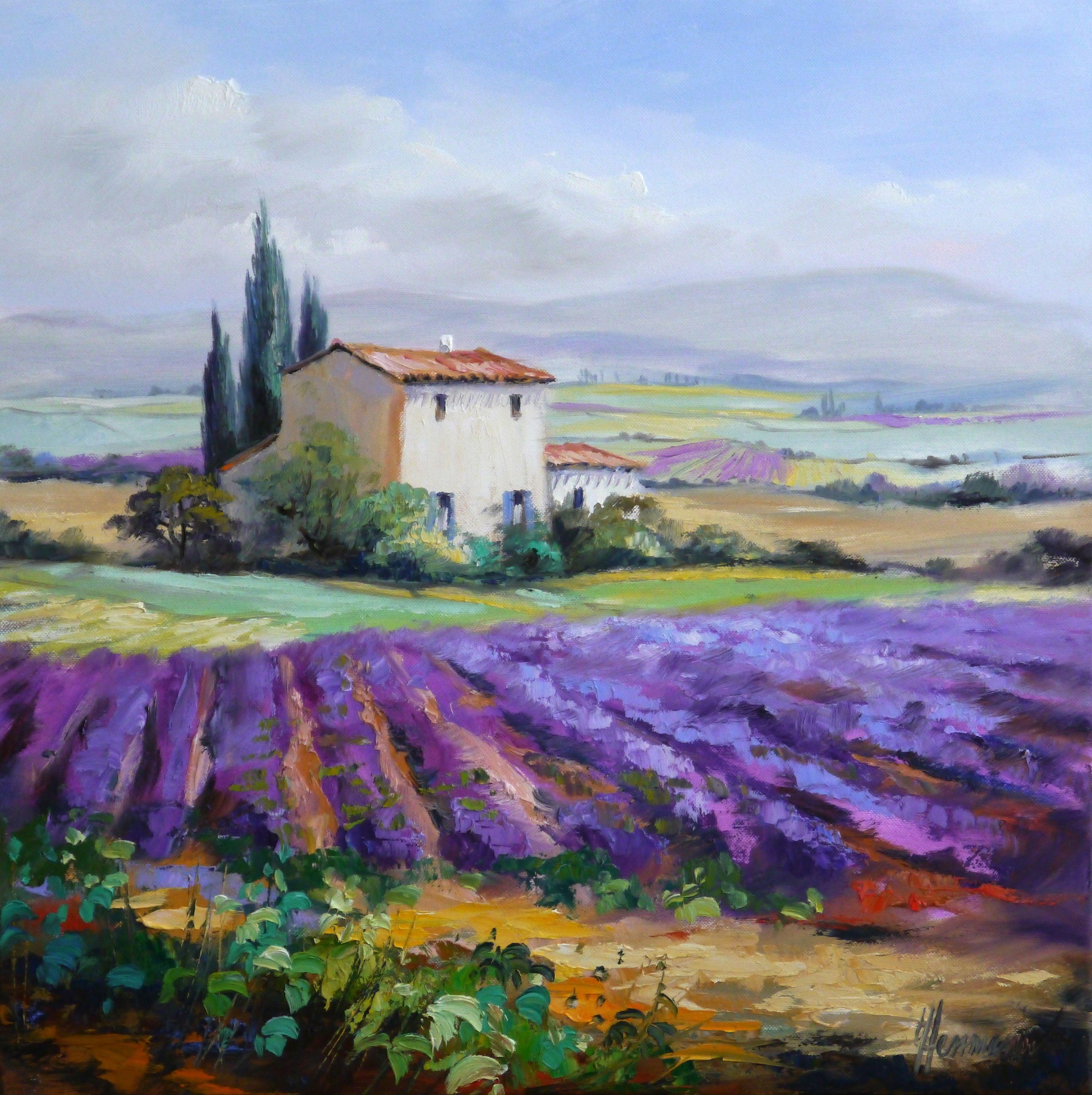 """""""Lavendel in der Provence"""" von Ute Herrmann. Ein Ölgemälde in den Maßen 50 x 50 cm. Duftende Reihen von leuchtendem Lavendel, im diesigen Hintergrund die Berge des Mont Ventoux. So liebe ich diese Landschaft im Süden von Frankreich."""