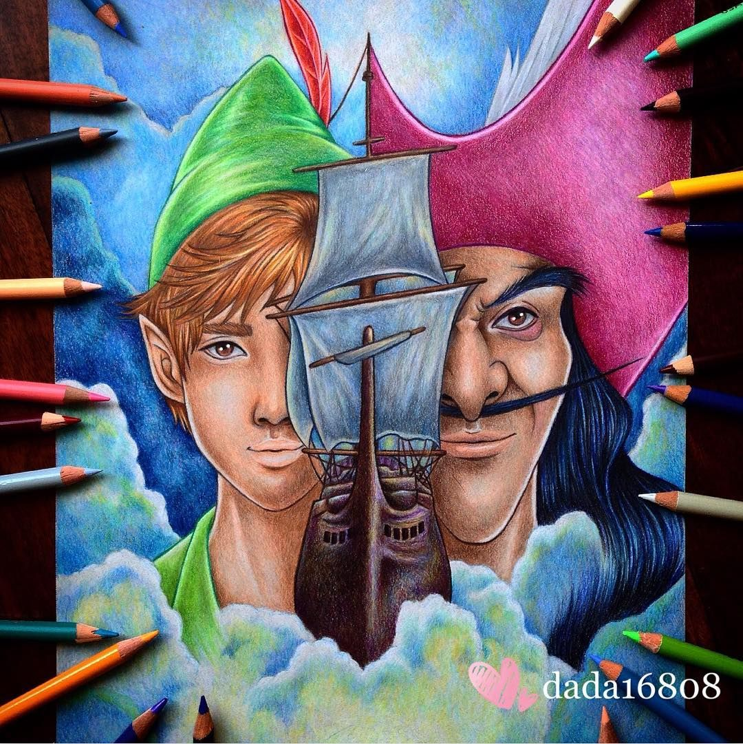 Peter pan and captain hook art by dada dada16808 on instagram peter pan tinkerbell for Disegni peter pan