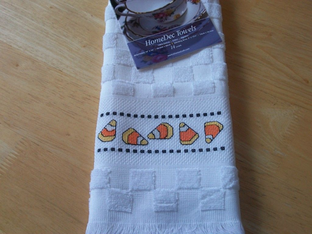 Kitchen Towel Craft Charles Craft Finished Cross Stitch Kitchen Towel Halloween Candy