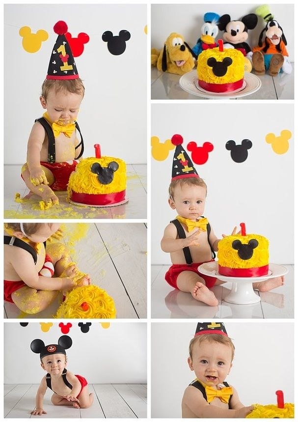 Disney Themed First Birthday Cake Smash Session With Images