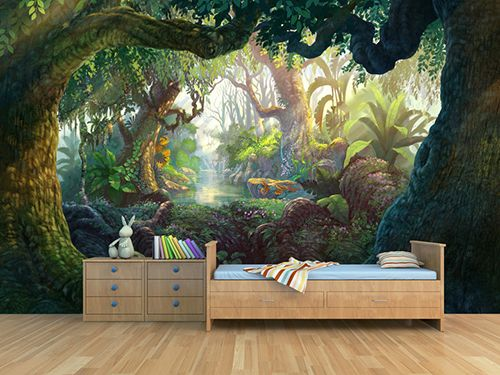 d coration murale panoramique motif dessin la main paysage de la jungle papier peint. Black Bedroom Furniture Sets. Home Design Ideas