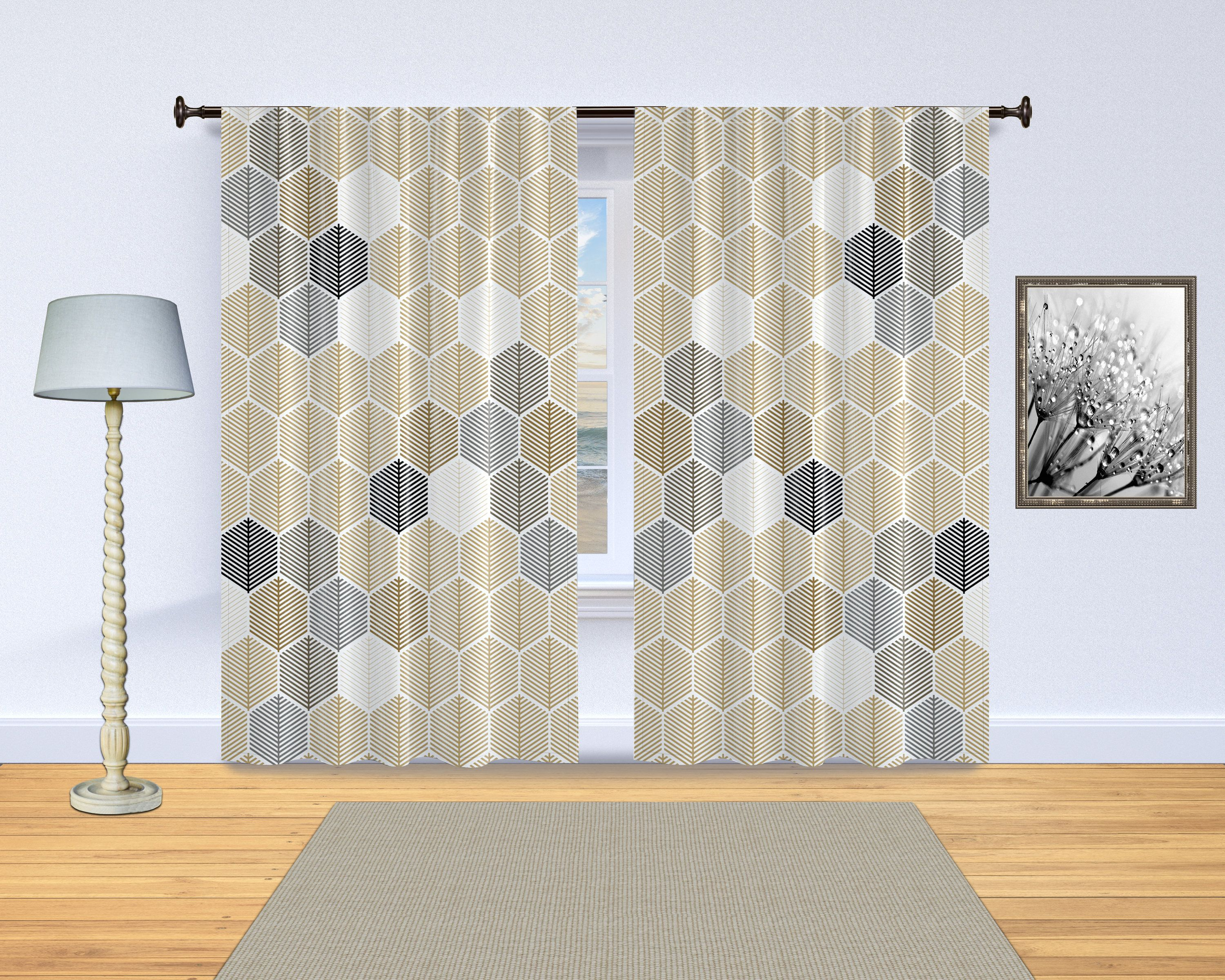Hexagon geometric curtains. Neutral abstract leaf pattern. Beige, brown, gray, black and white. One or two 50