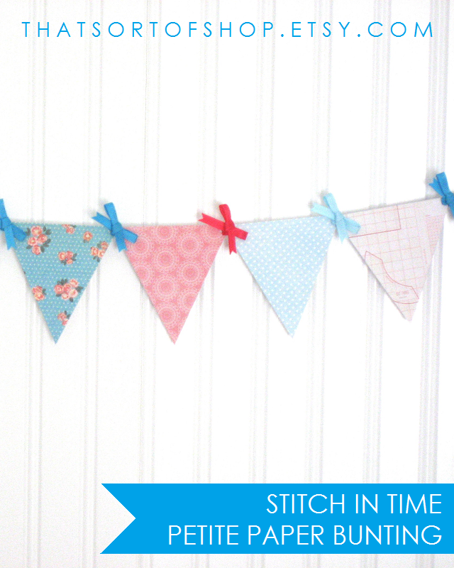 Show your love for vintage fabric and needle arts with this pretty bunting. Features patterns inspired by sewing and old-fashioned needle crafts including florals, bows, lace doilies, graph paper, sewing pattern paper, and polka dots in a color palette of pinks and blues.
