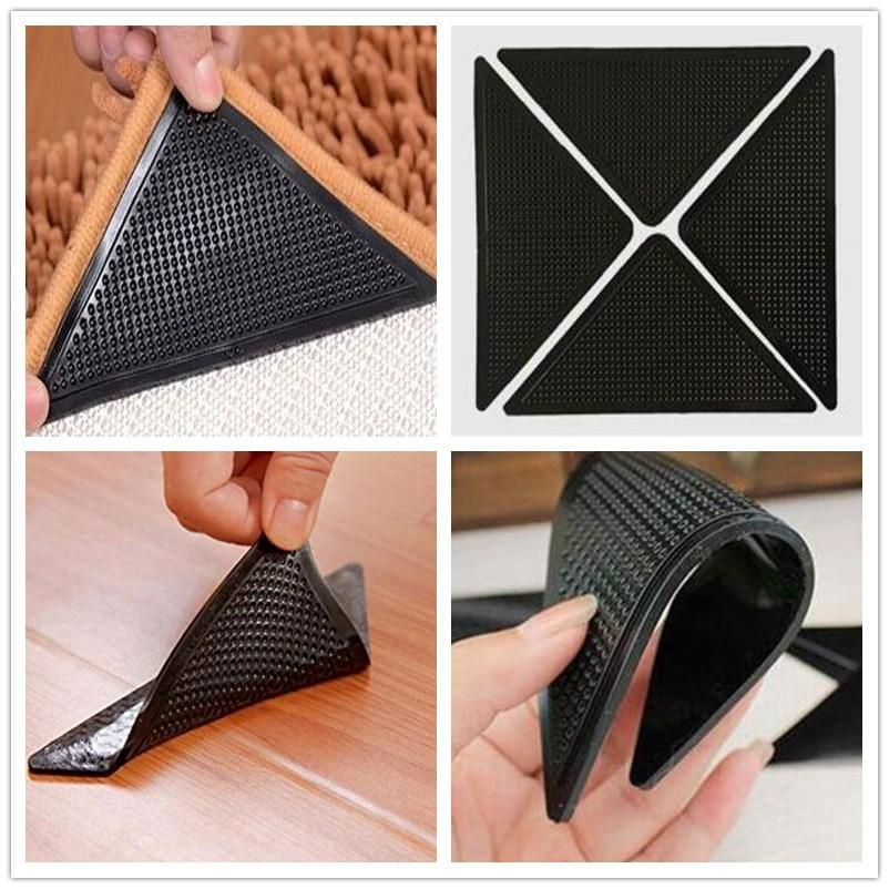 4 Set Reusable Rug Carpet Mat Grippers Anti Slip Silicone Grip Skid Tape Holder