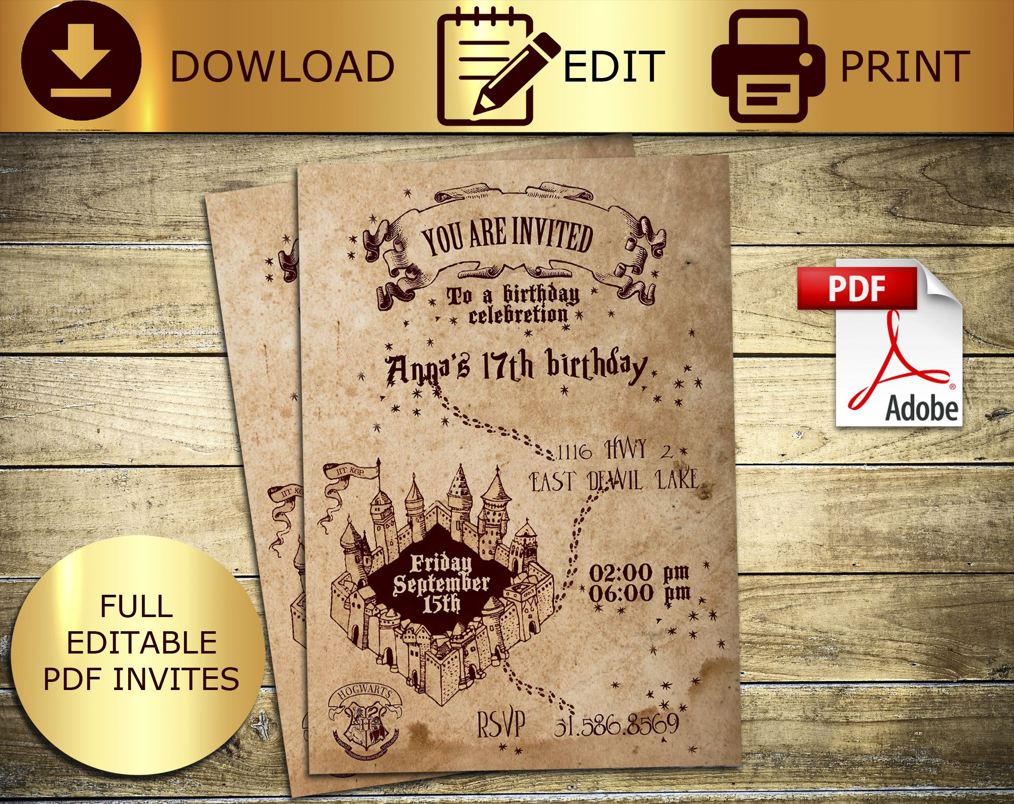 Marauders Map Harry Potter Invitation Hogwarts Invitation Hogwarts