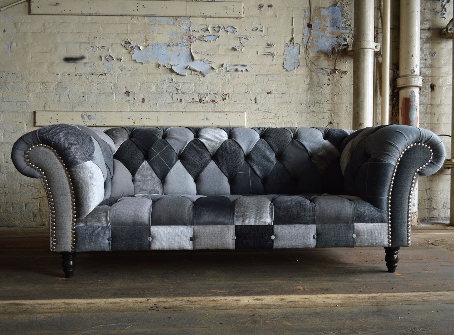 Modern British And Handmade Bold Ghost Patchwork Chesterfield Sofa Totally Unique Fabric 3 Seater