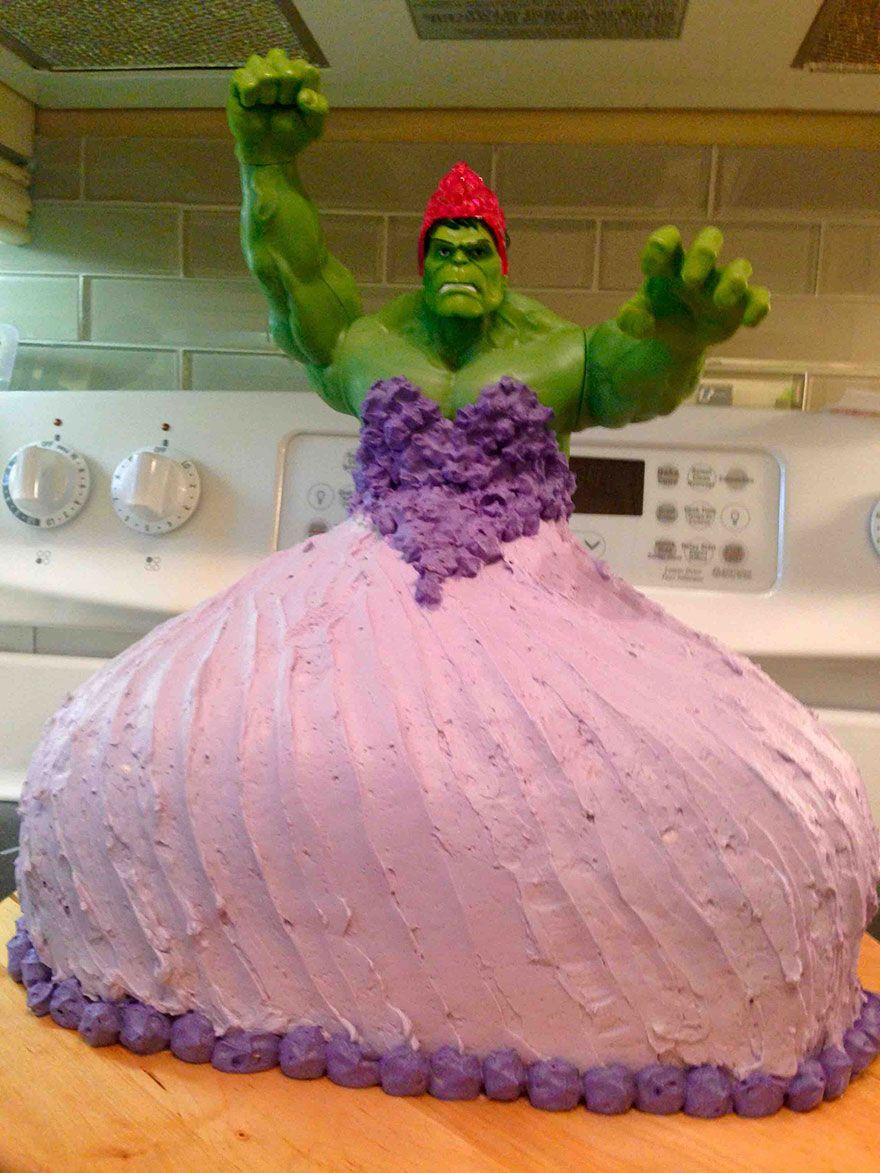 4YearOld Twin Girls Wanted Hulk Princess Cake For Their Birthday