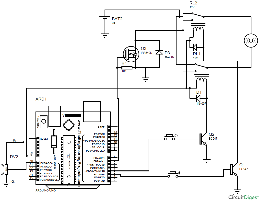 Arduino based DC Motor Speed and Direction Control circuit diagram ...