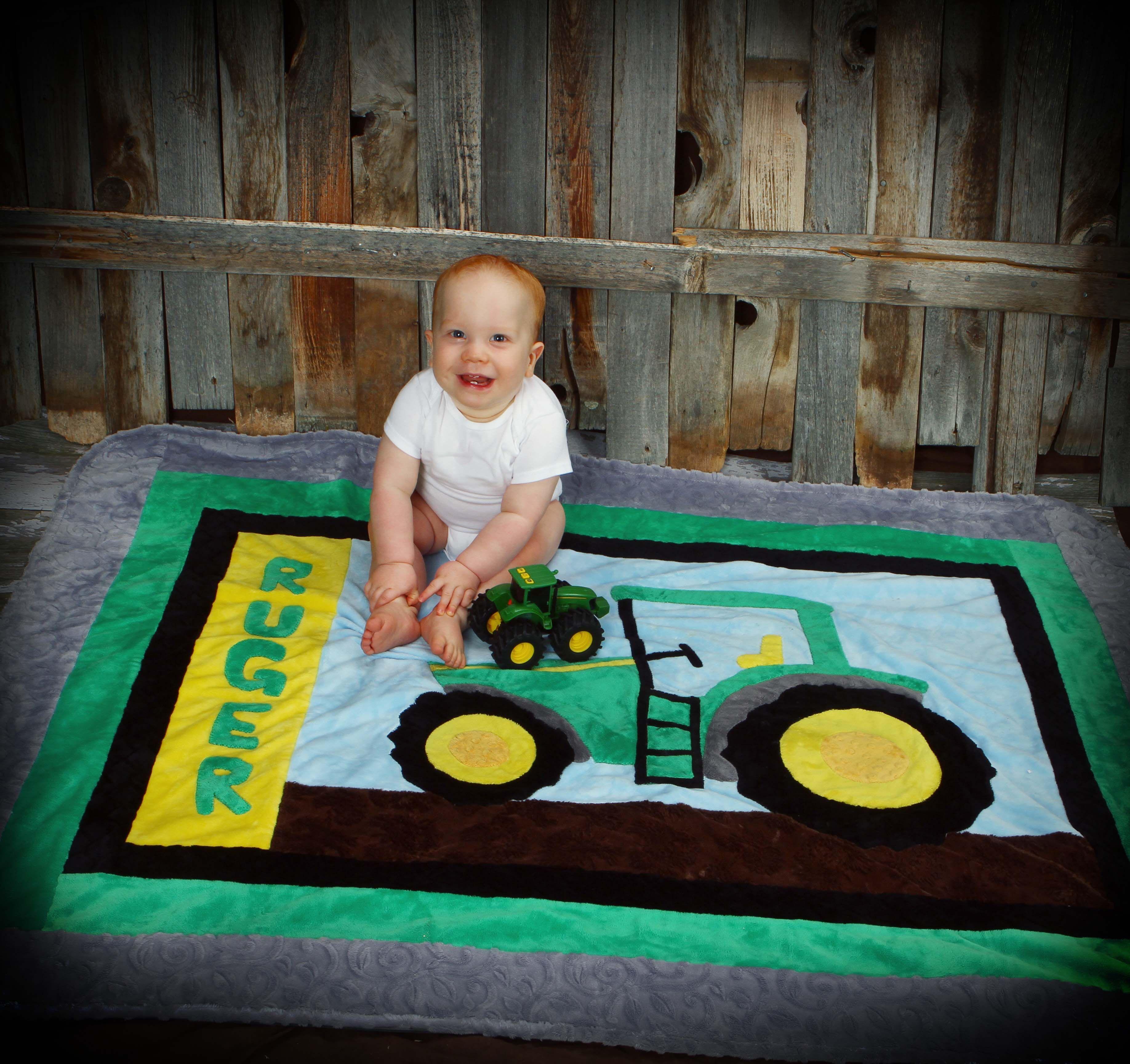 John Deere Rug tractor! farm sweet farm john deere crib quilt and rug pattern