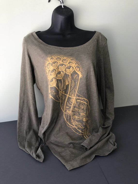 a7167c083 All-Seeing Jellyfish Trippy Off the Shoulder Long Sleeve Wide Neck ...