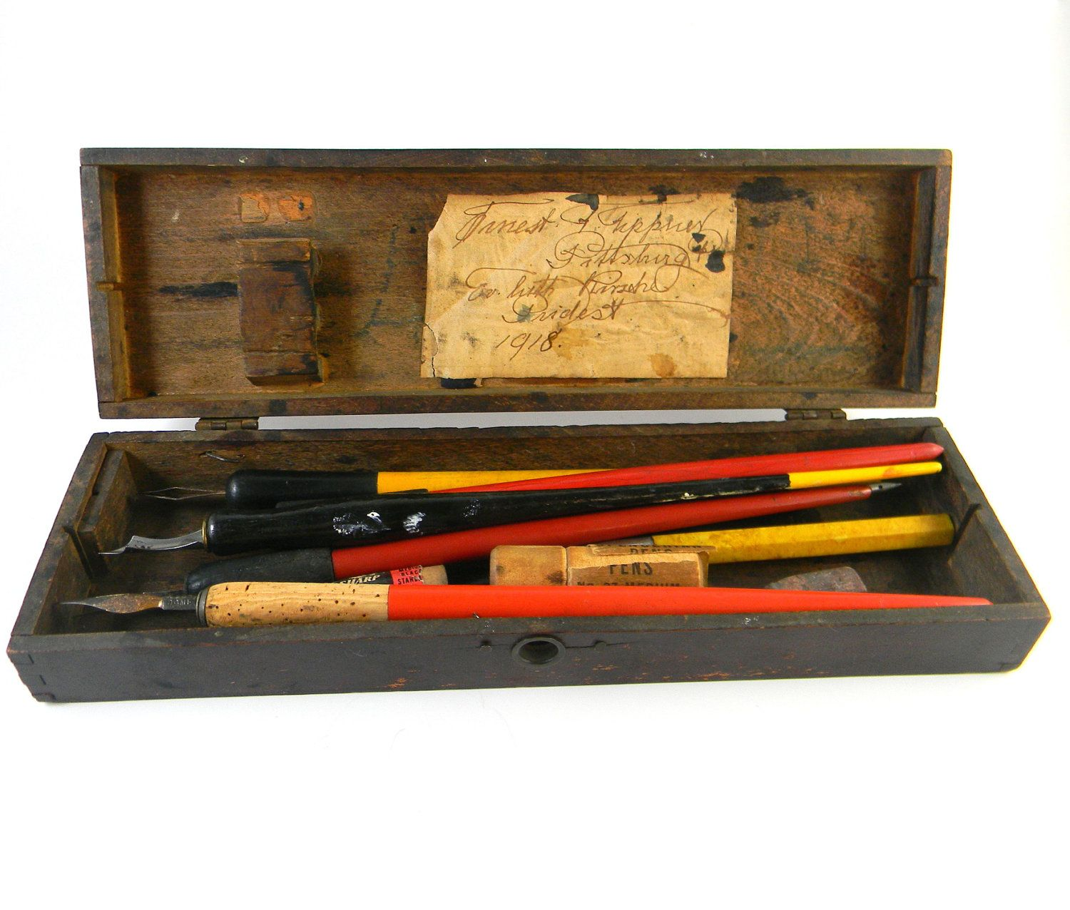 Antique Artist S Tool Box In Wood With Calligraphy Pens