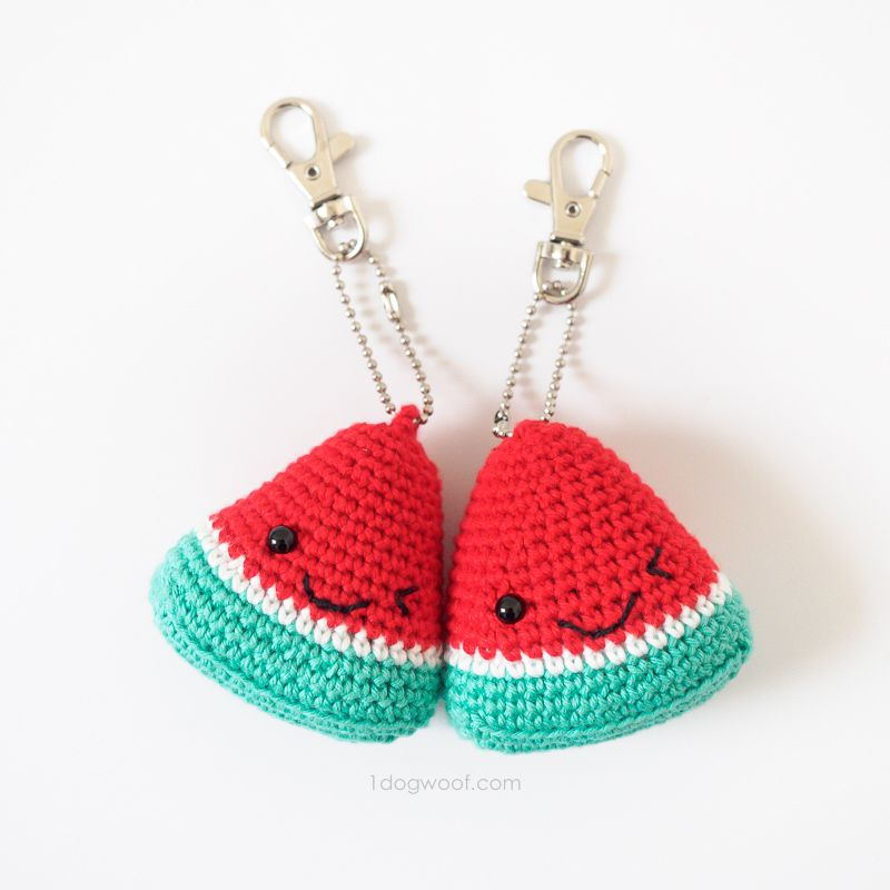Watermelon Amigurumi Keychain Summer Stocking Stuffer | Tutoriales