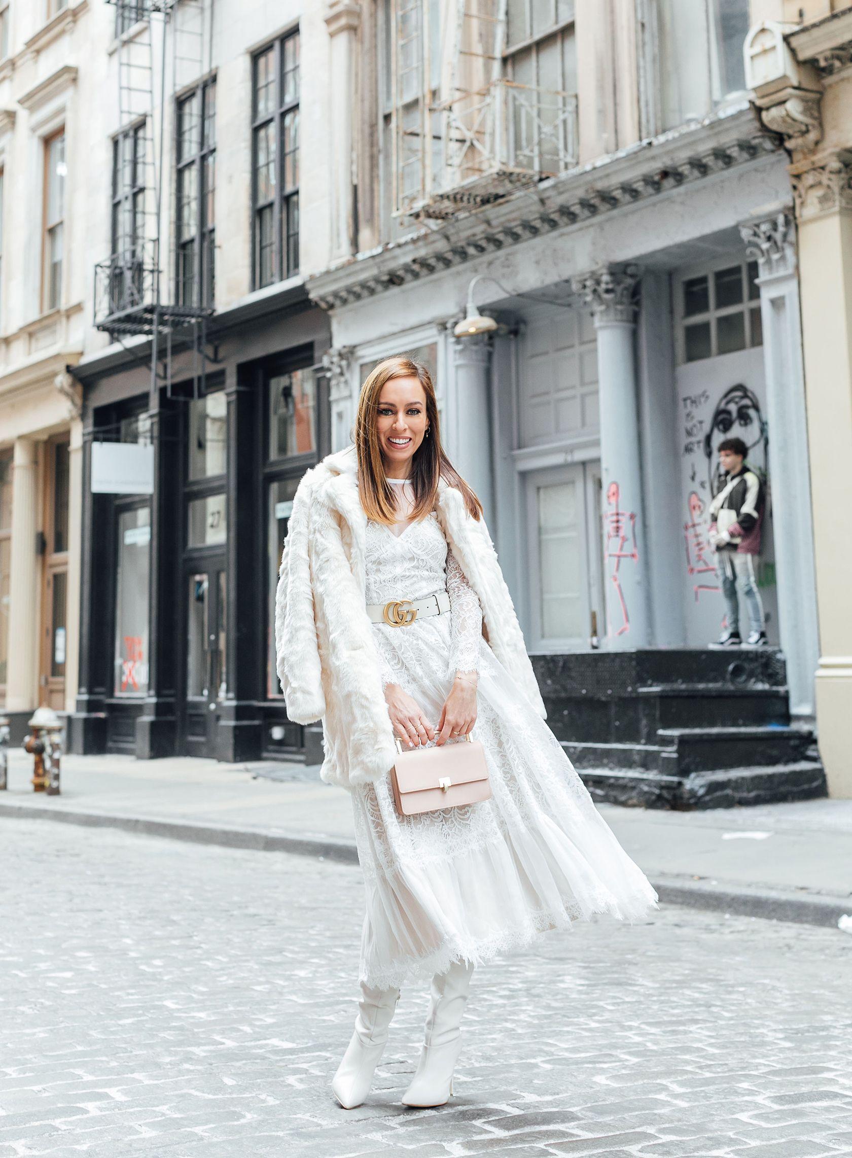 4dd4f57a74b Sydne Style shows how to wear winter white with faux fur coat  winterwhite   fauxfur  tadashishoji  lace  dresses  guccibelt  sydnesummer