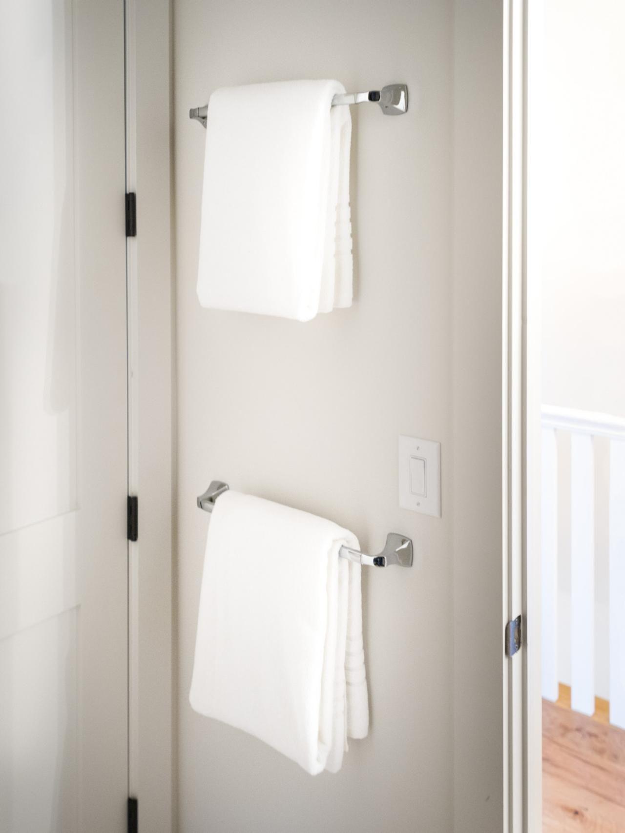 Chrome Towel Racks On Bathroom Door Towel Rack Guest Bathroom Bathroom Pictures