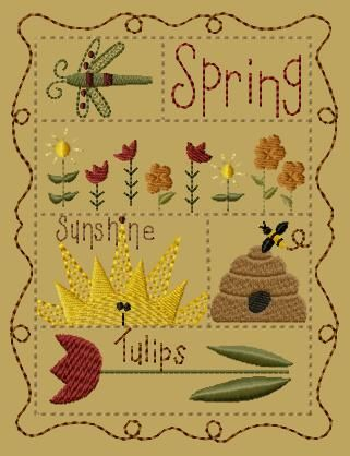 sito bellissimo ma caro PK148 Spring Sampler Version 1 - 5x7 - $8.00 : Primitive Keepers, Prim Machine Embroidery Designs