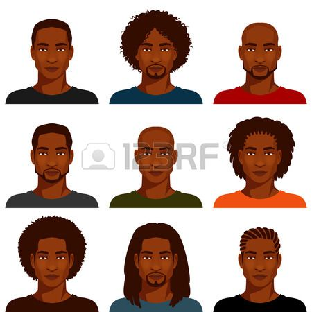 African American Men With Various Hairstyles African American Men How To Draw Hair Afro Hair Drawing