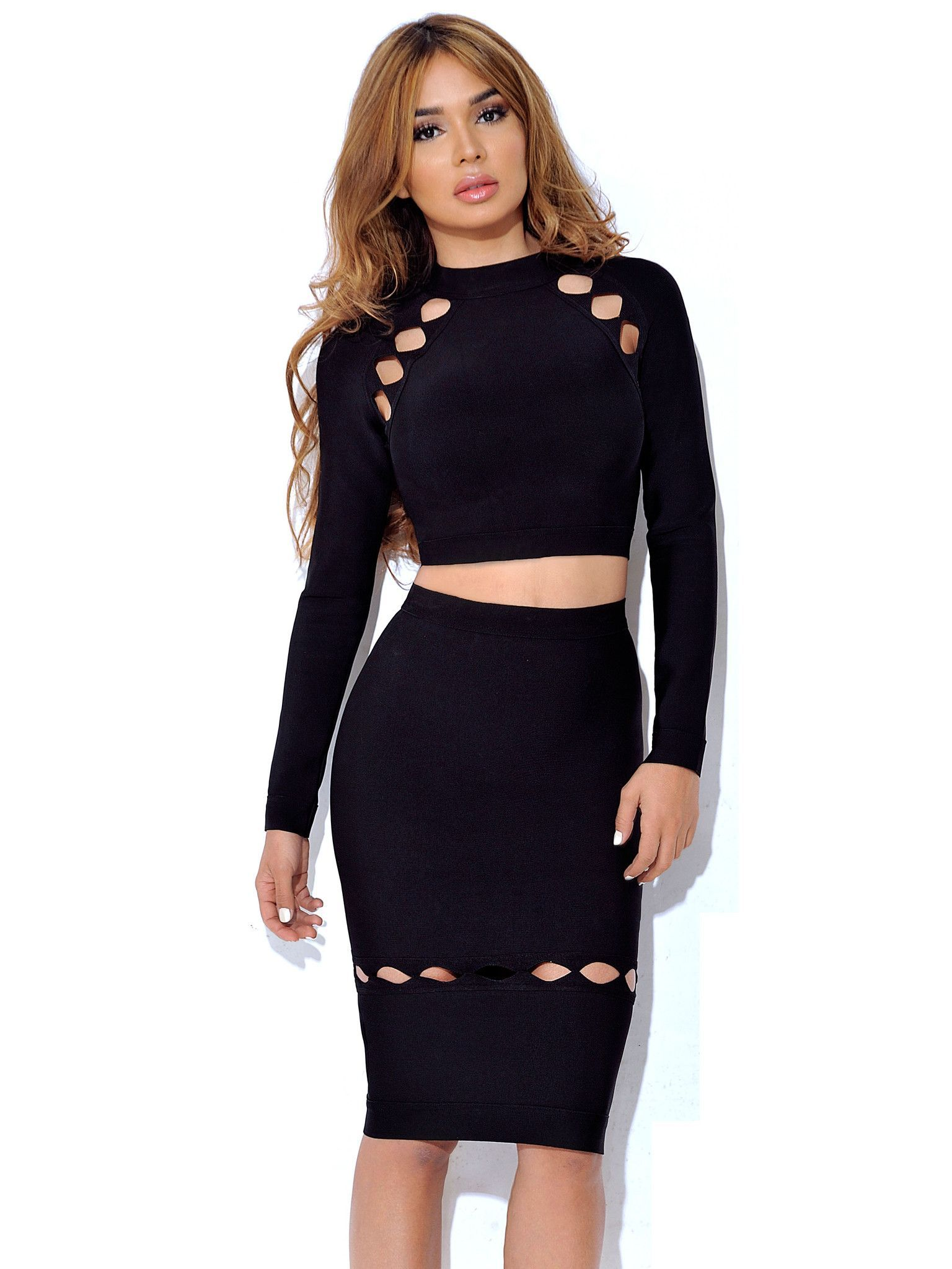 Arianne cutout detail long sleeve two piece dress roupas