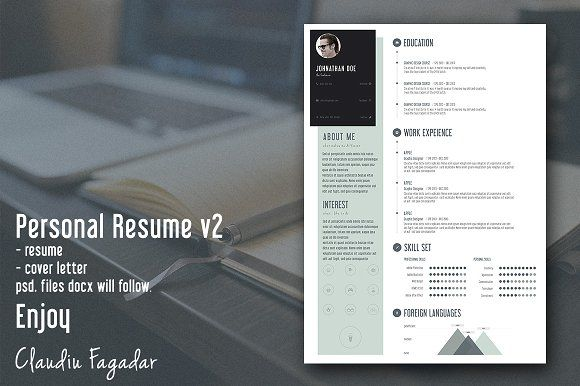 Creative Personal Resume - Minimal by Claudiu Fagadar on - personal resume templates