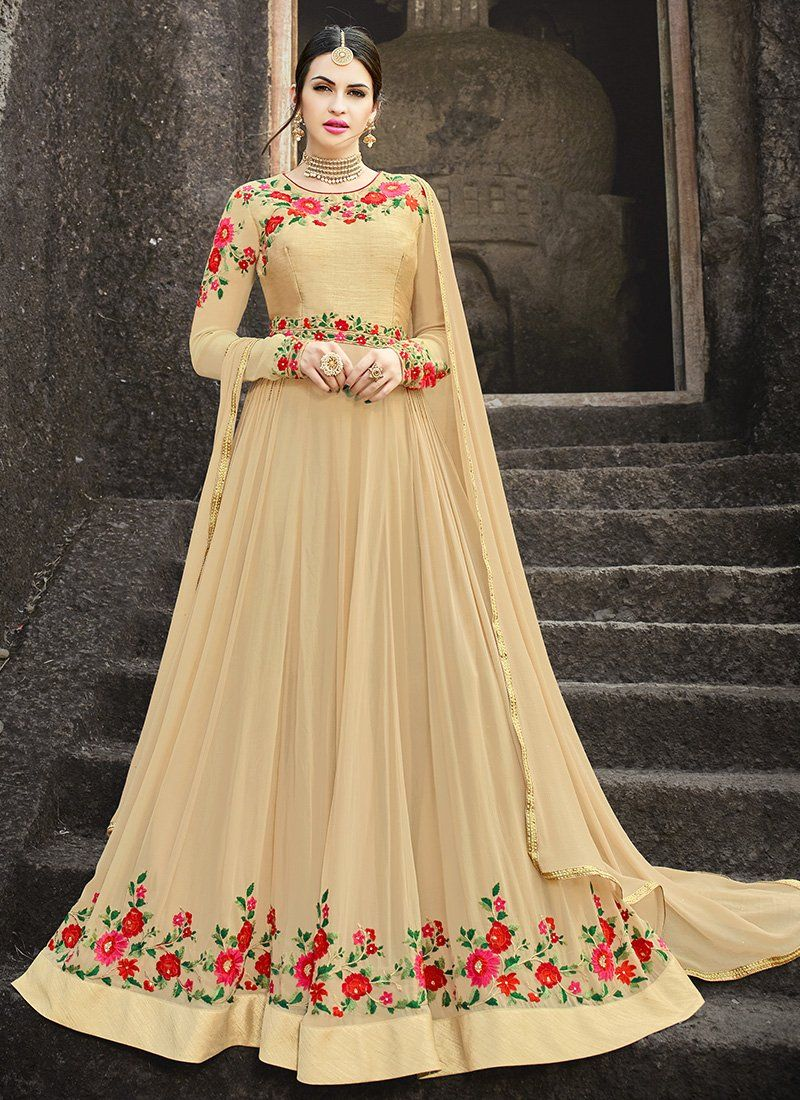 773c2d5242d Beige Floral Embroidered Georgette Anarkali Suit in 2019