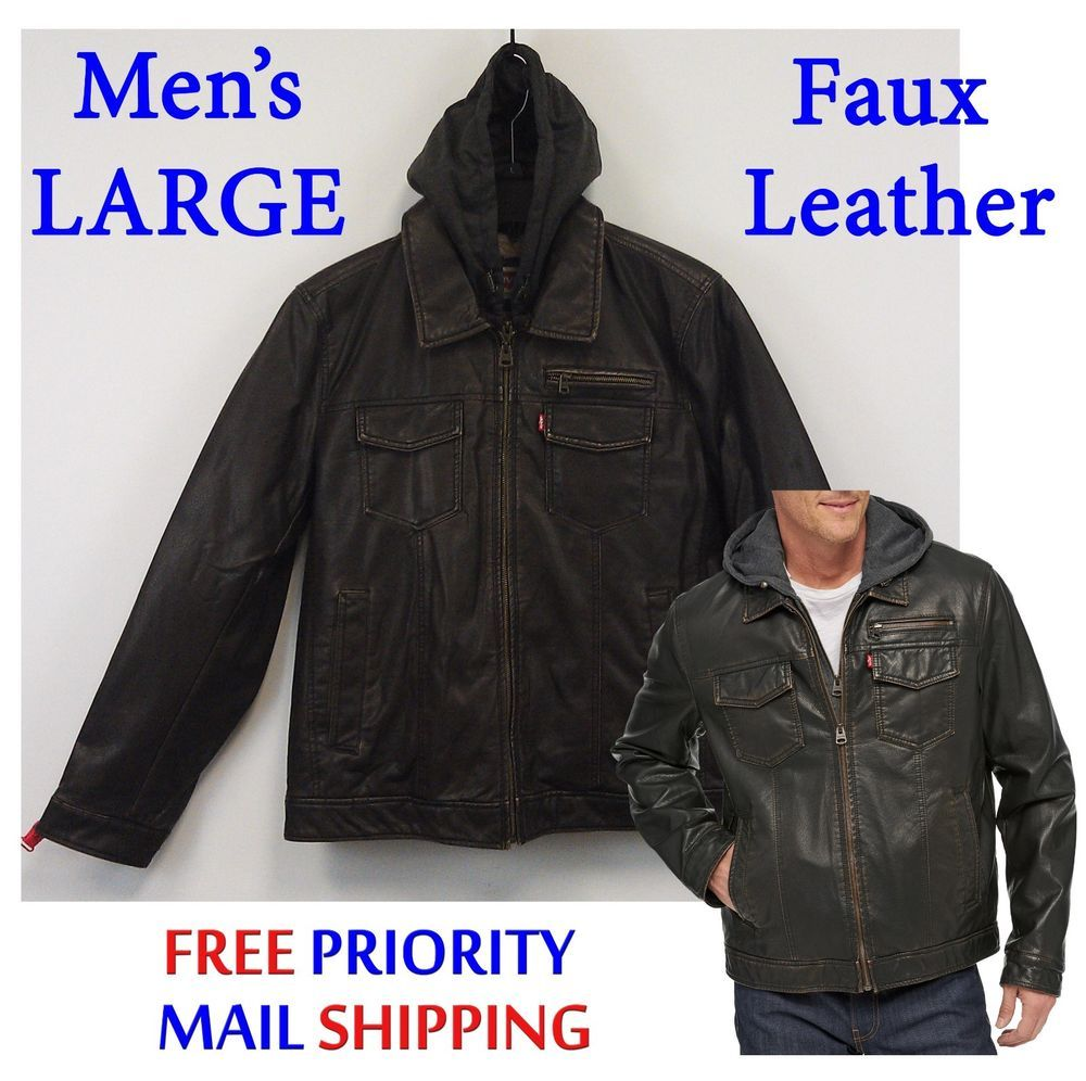 Just 75 Free EXP Ship Levi's Faux Leather Trucker Jacket